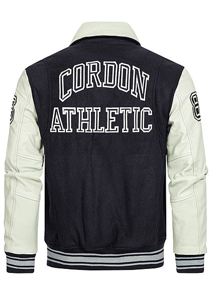 Cordon Sport Berlin Herren Lederjacke Materialmix Logo Patch 2-Pockets navy blau