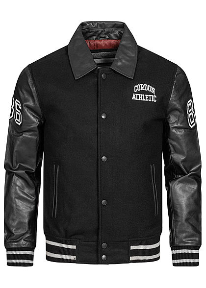 Cordon Sport Berlin Herren Lederjacke Materialmix Logo Patch 2-Pockets schwarz weiss - Art.-Nr.: 20104964