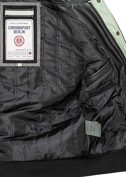 Cordon Sport Berlin Herren Lederjacke Logo Patch vorne & hinten 2-Pockets schwarz