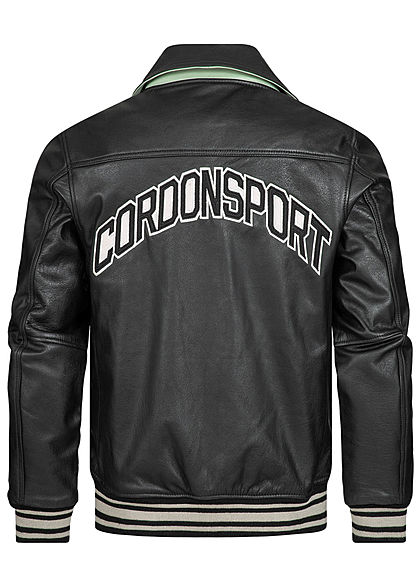 Cordon Sport Berlin Herren Lederjacke Logo Patch vorne & hinten 2-Pockets schwarz weiss