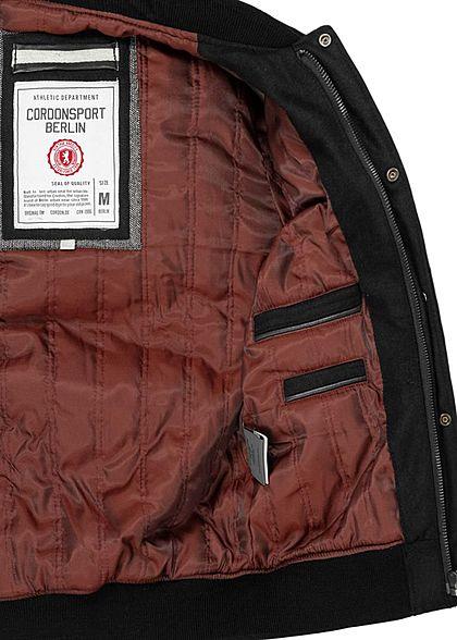 Cordon Sport Berlin Herren Lederjacke Materialmix Logo Frontpatch 2-Pockets schwarz