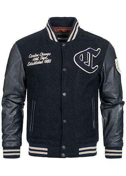 Cordon Sport Berlin Herren Lederjacke Materialmix Logo Frontpatch 2-Pockets navy blau