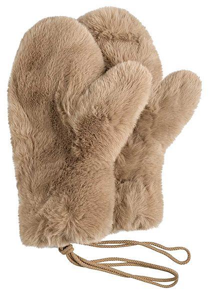 Tom Tailor Damen Plüsch Kunstfell Handschuhe mit einer Kordel cargo beige