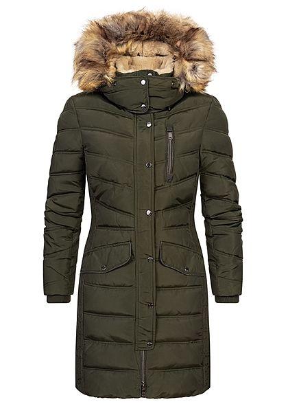 Tom Tailor Damen Winter Puffer Steppmantel Jacke abnehmb. Kapuze 2-Pockets rosin d. grün