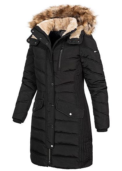 Tom Tailor Damen Winter Puffer Steppmantel Jacke abnehmb. Kapuze 2-Pockets schwarz