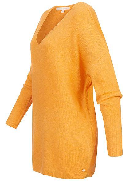 Tom Tailor Damen V-Neck Longform Strickpullover indian spice gelb