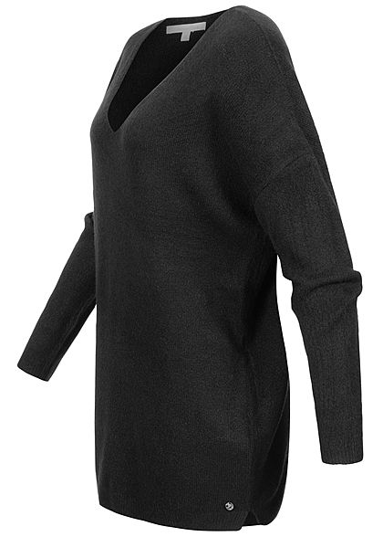 Tom Tailor Damen V-Neck Longform Strickpullover deep schwarz