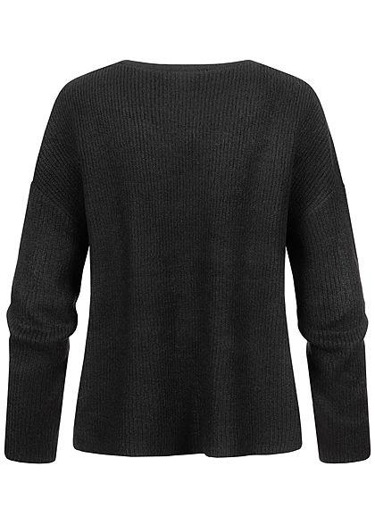 Tom Tailor Damen V-Neck Strickpullover Sweater kurze Seitenschlitze schwarz