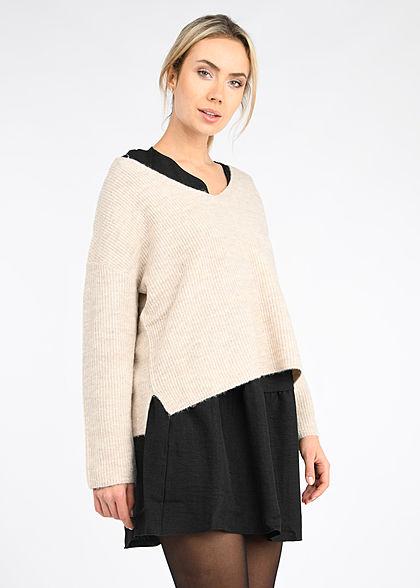 Tom Tailor Damen V-Neck Strickpullover Sweater kurze Seitenschlitze cosy beige mel.