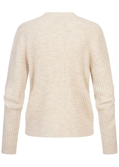Tom Tailor Damen V-Neck Struktur Cardigan Strickjacke Knopfleiste creme beige mel