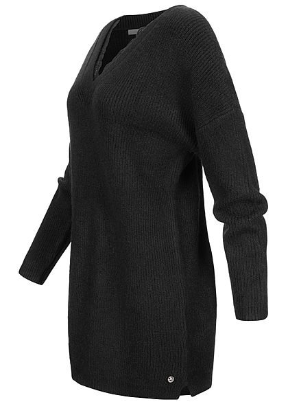 Tom Tailor Damen V-Neck Struktur Strickpullover mit Spitzenbesatz deep schwarz