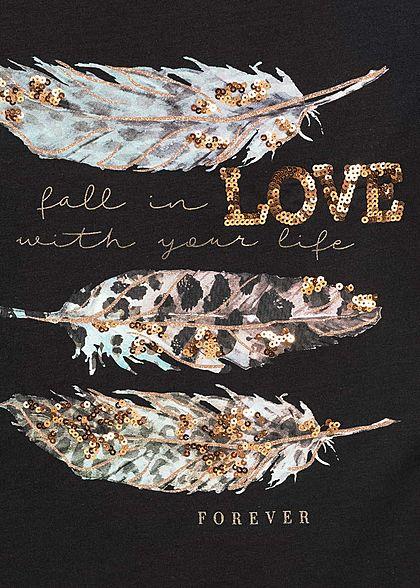 Hailys Damen T-Shirt Federn Print Love Pailletten Glitzer schwarz gold grün
