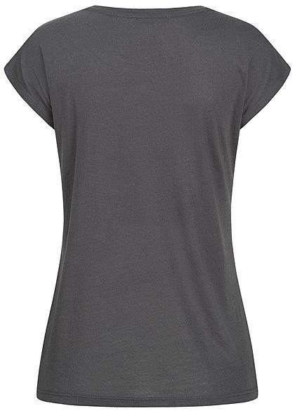 Hailys Damen T-Shirt Federn Print Love Pailletten Glitzer anthrazit dunkel grau kupfer