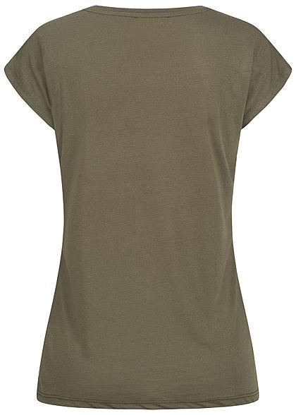 Hailys Damen T-Shirt Federn Print Love Pailletten Glitzer khaki grün braun kupfer