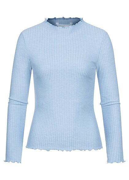 ONLY Damen NOOS Ribbed Frill Longsleeve Pullover infinity hell blau