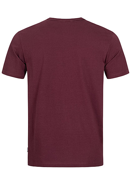 ONLY & SONS Herren T-Shirt Dedication Frontprint Slim Fit winetasting bordeaux rot