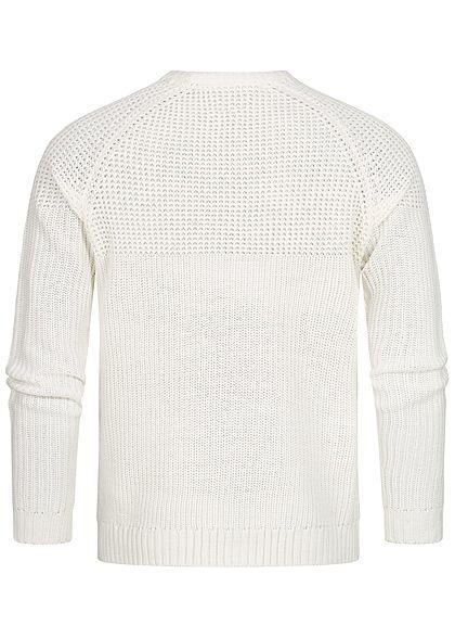 ONLY & SONS Herren Struktur Strickpullover Sweater mit Rippbündchen cloud d. weiss