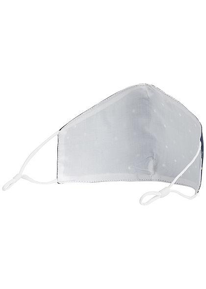 Hailys Damen Fashion Maske Mund-Nasen Behelfsmaske Punkte Muster navy gelb