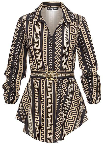 Styleboom Fashion Damen Longform Bluse mit Schnalle AOP Print schwarz