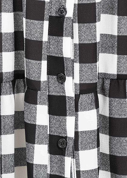 Styleboom Fashion Damen Oversized Flanell Crepe Kleid schwarz weiss