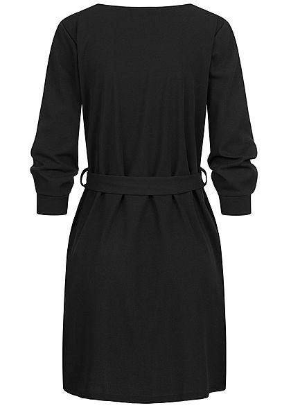 Styleboom Fashion Damen 3/4 Arm Mini Kleid mit Bindegürtel schwarz