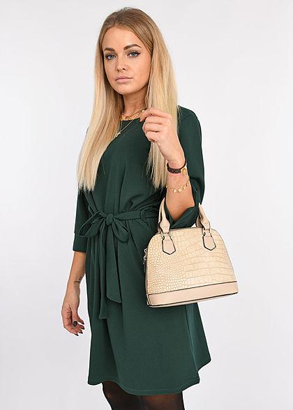 Styleboom Fashion Damen 3/4 Arm Mini Kleid mit Bindegürtel dunkel grün