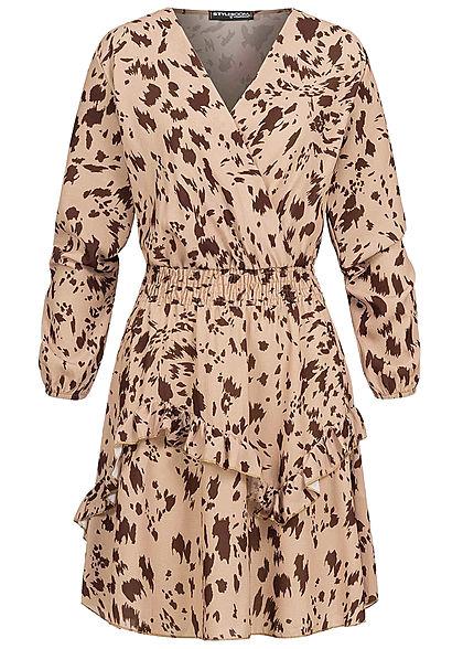 Styleboom Fashion/® Damen V-Neck Chiffon Kleid Blumen Muster Wickeloptik schwarz mc