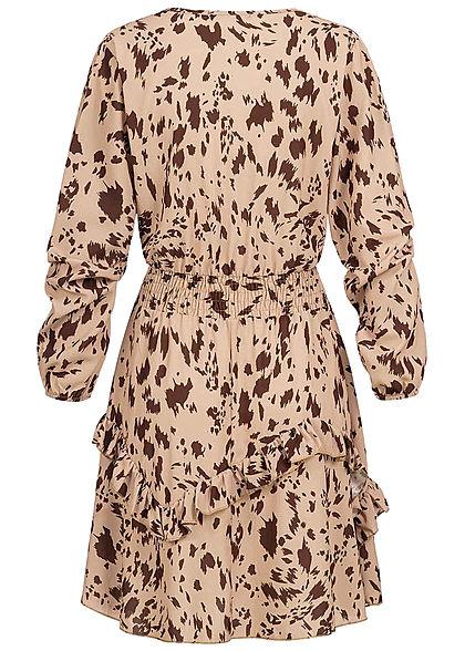 Styleboom Fashion Damen V-Neck Chiffon Crepe Kleid Stufenrock AOP Print beige