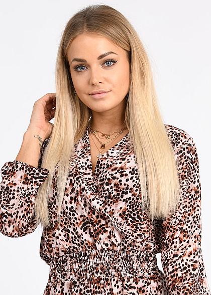 Styleboom Fashion Damen V-Neck Chiffon Crepe Kleid Stufenrock beige braun