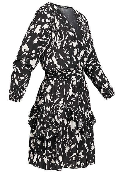Styleboom Fashion Damen V-Neck Chiffon Crepe Kleid Stufenrock schwarz weiss