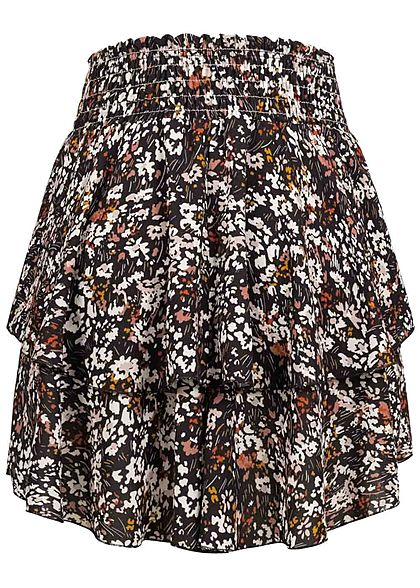 Styleboom Fashion Damen Mini Stufenrock Blumen Print schwarz multicolor