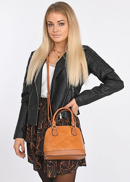Styleboom Fashion Damen Mini Stufenrock Blätter Print schwarz braun