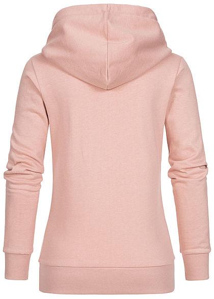 Seventyseven Lifestyle Damen Logo Print Hoodie mit Kapuze Kängurutasche rosa weiss