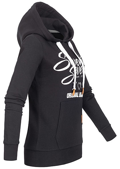 Seventyseven Lifestyle Damen Logo Print Hoodie mit Kapuze Kängurutasche schwarz weiss