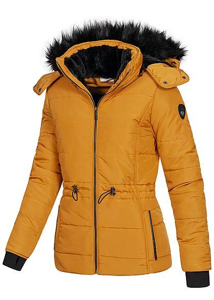 Seventyseven Lifestyle Damen Winter Steppjacke abnehmbare Kapuze 2-Pockets gelb schwarz