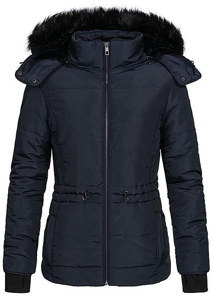 Seventyseven Lifestyle Damen Winter Steppjacke abnehmbare Kapuze 2-Pockets navy blau