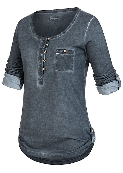 Seventyseven Lifestyle Damen Turn-Up Longsleeve Brusttasche Knopfleiste deep navy blau