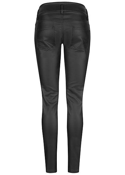 Seventyseven Lifestyle Damen Skinny Kunstleder Hose breiter Bund 5-Pockets coated schwarz