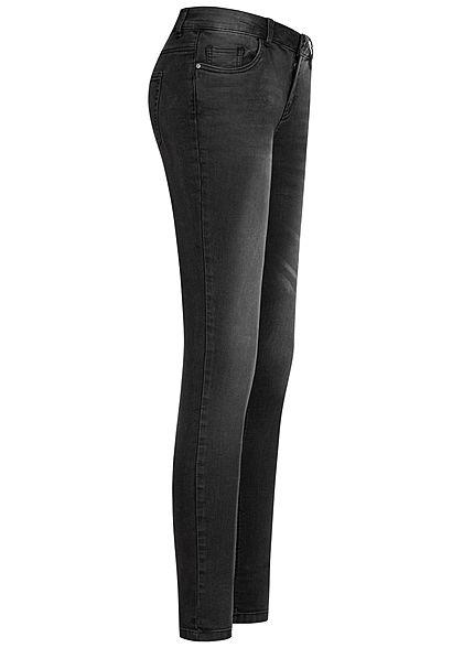 Seventyseven Lifestyle Damen Skinny Jeans Hose 5-Pockets Low Waist schwarz denim