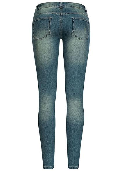Seventyseven Lifestyle Damen Skinny Jeans Hose 5-Pockets Low Waist dunkel blau denim