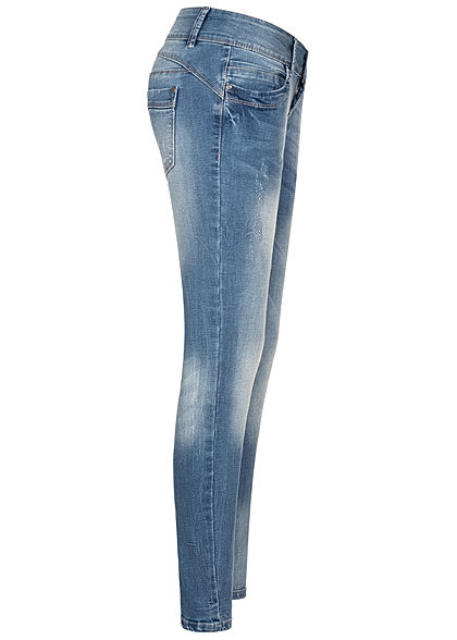 Seventyseven Lifestyle Damen Skinny Jeans Hose 5-Pockets 3er Knopfleiste hell blau