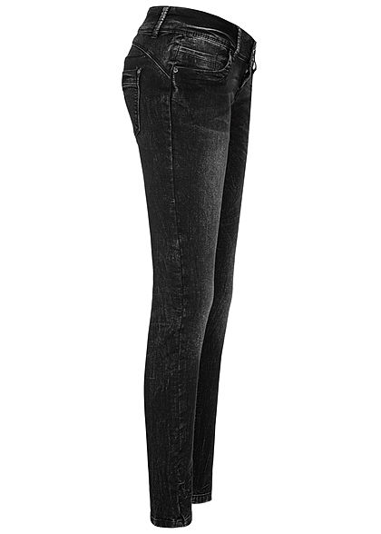 Seventyseven Lifestyle Damen Skinny Jeans Hose 5-Pockets 3er Knopfleiste dunkel grau