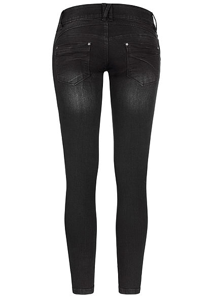 Seventyseven Lifestyle Damen Skinny Jeans Hose 5-Pockets 3er Knopfleiste schwarz denim