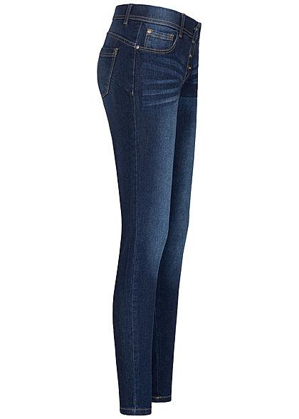 Seventyseven Lifestyle Damen Pushup Skinny Jeans 5-Pockets 4er Knopfleiste dunkel blau d.