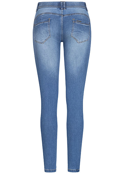 Seventyseven Lifestyle Damen Pushup Skinny Jeans 5-Pockets 4er Knopfleiste hell blau den