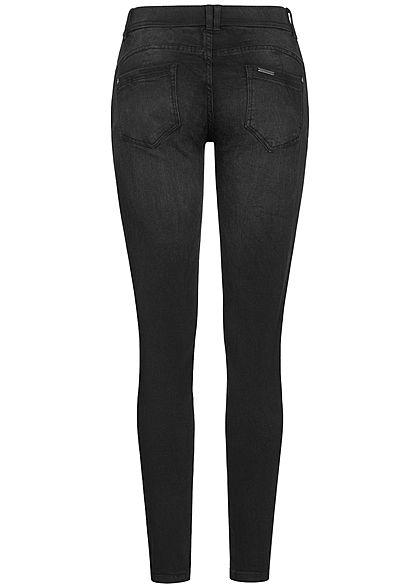 Seventyseven Lifestyle Damen Pushup Skinny Jeans 5-Pockets 4er Knopfleiste schwarz denim
