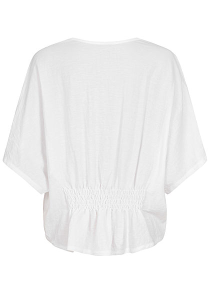 Seventyseven Lifestyle Damen Oversized V-Neck Blusen Shirt mit Häkelbesatz weiss