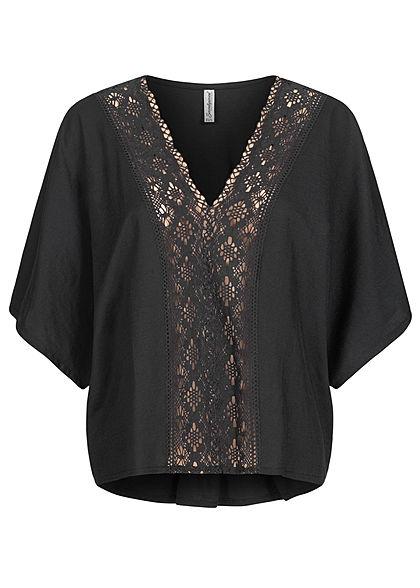 Seventyseven Lifestyle Damen Oversized V-Neck Blusen Shirt mit Häkelbesatz schwarz