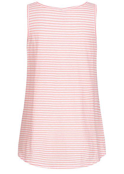 Seventyseven Lifestyle Damen Vokuhila Long Top Bindedetail vorn Streifen Muster hell rosa