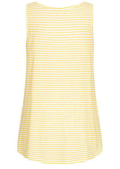 Seventyseven Lifestyle Damen Vokuhila Long Top Bindedetail vorn Streifen Muster hell gelb